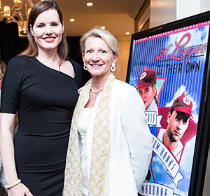 Geena Davis and Debi Taylor Tate, Co-Chair of the Healthy MEdia Commission for Positive Images of Women and Girls