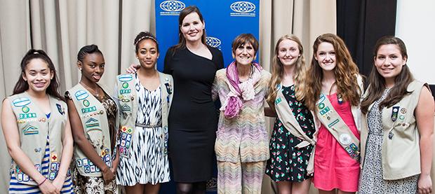 Geena Davis (Founder, Geena Davis Institute on Gender in Media), Congresswoman DeLauro and Girl Scouts