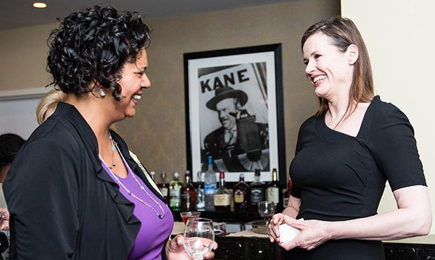 Geena Davis and Karen Avery,Senior Director of Institutional Giving, PBS