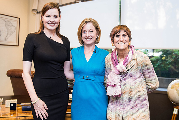 Geena Davis, Linda Kenney, Senior Vice President and General Counsel of MPAA and Congresswoman Rosa DeLauro