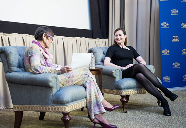 Geena Davis and Congresswoman Rosa DeLauro