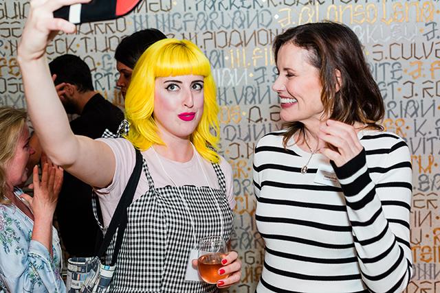 Salon attendee with Geena Davis