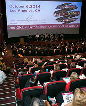 Gender on Media Global Symposium 2014, Los Angeles, Christina Martin, Partner at Bannockburn Global ForEx and Geena Davis