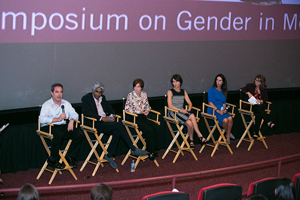 Gender on Media Global Symposium 2014, Los Angeles, Ben Cosgrove, President of Production, 2929 Productions, Ashok Armritraj, Chairman and CEO, Hyde Park Entertainment, Linda Woolverton, Screenwriter, Kristine Belson, Producer, DreamWorks, Camela Galano, President, Relativity International and Dr. Stacy Smith, Associate Professor, USC Annenberg.