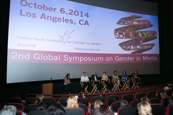 Gender on Media Global Symposium 2014, Los Angeles, Panel 1: Global Storytelling: Portrayals of Women and Girls: Cathy Schulman, President, Mandalay Pictures, Ben Cosgrove, President of Production, 2929 Productions, Ashok Armritraj, Chairman and CEO, Hyde Park Entertainment, Linda Woolverton, Screenwriter, Kristine Belson, Producer, DreamWorks, Camela Galano, President, Relativity International and Dr. Stacy Smith, Associate Professor, USC Annenberg.
