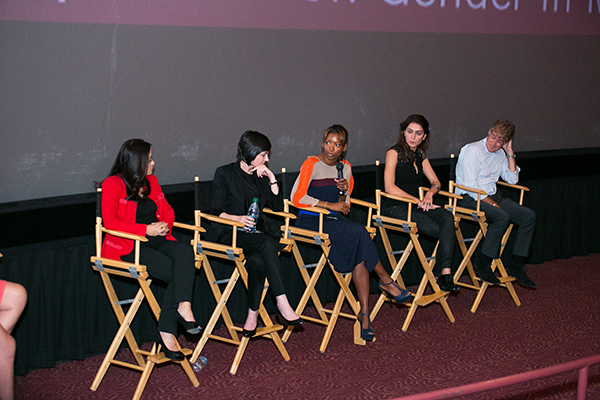 Gender on Media Global Symposium 2014, Los Angeles, Lareina Yee, Partner, McKinsey & Company, Elissa Murphy, CTO, GoDaddy, Nikkole Denison-Randolph, VP, Specialty & Alternative Content, AMC Theatres, Farnaz Azmoodeh, Software Engineer, Google and Stewart Till, Director, Chair, Sonar Entertainment.